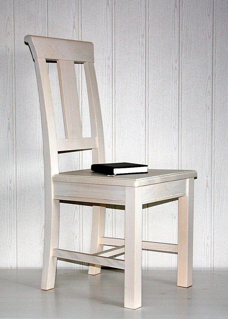 Stuhl Holzstuhl Kiefer Esszimmerstuhl Vollholz massiv weiß – Bild 10
