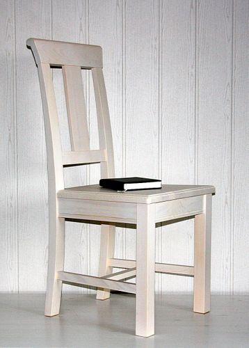 Stuhl Holzstuhl Kiefer Esszimmerstuhl Vollholz massiv weiß – Bild 3