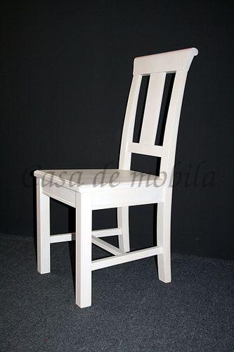 Stuhl Holzstuhl Kiefer Esszimmerstuhl Vollholz massiv weiß – Bild 4