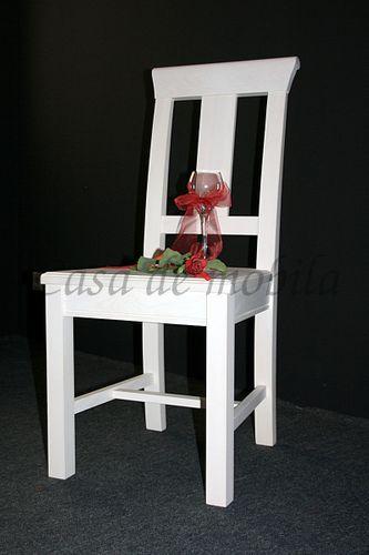 Stuhl Holzstuhl Kiefer Esszimmerstuhl Vollholz massiv weiß – Bild 1