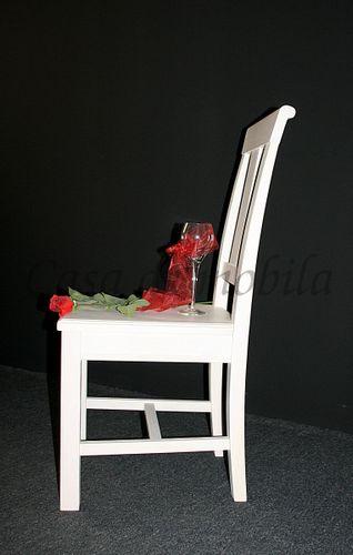 Stuhl Holzstuhl Kiefer Esszimmerstuhl Vollholz massiv weiß – Bild 5
