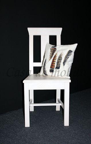 Stuhl Holzstuhl Kiefer Esszimmerstuhl Vollholz massiv weiß – Bild 7