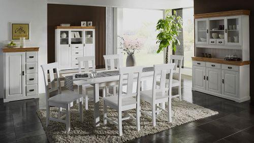 Tischgruppe 7teilig Sitzgruppe Kiefer Essgruppe Vollholz massiv weiß – Bild 6
