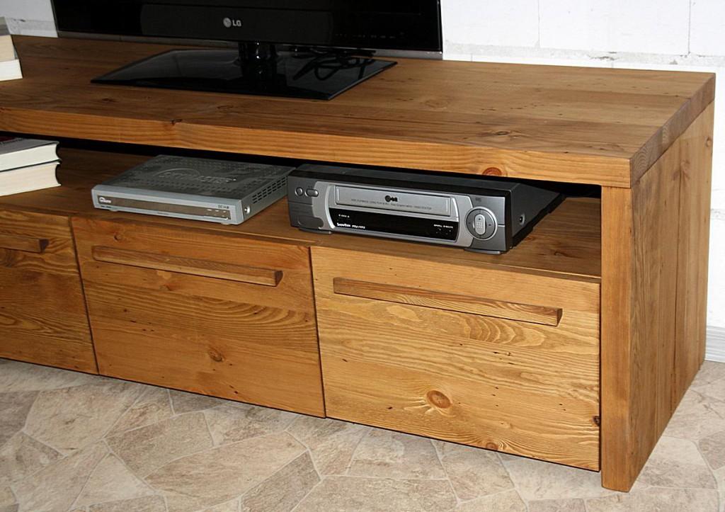 TV-Lowboard TV-Möbel Fernsehschrank Vollholz rustikal antik gewachst – Bild 7