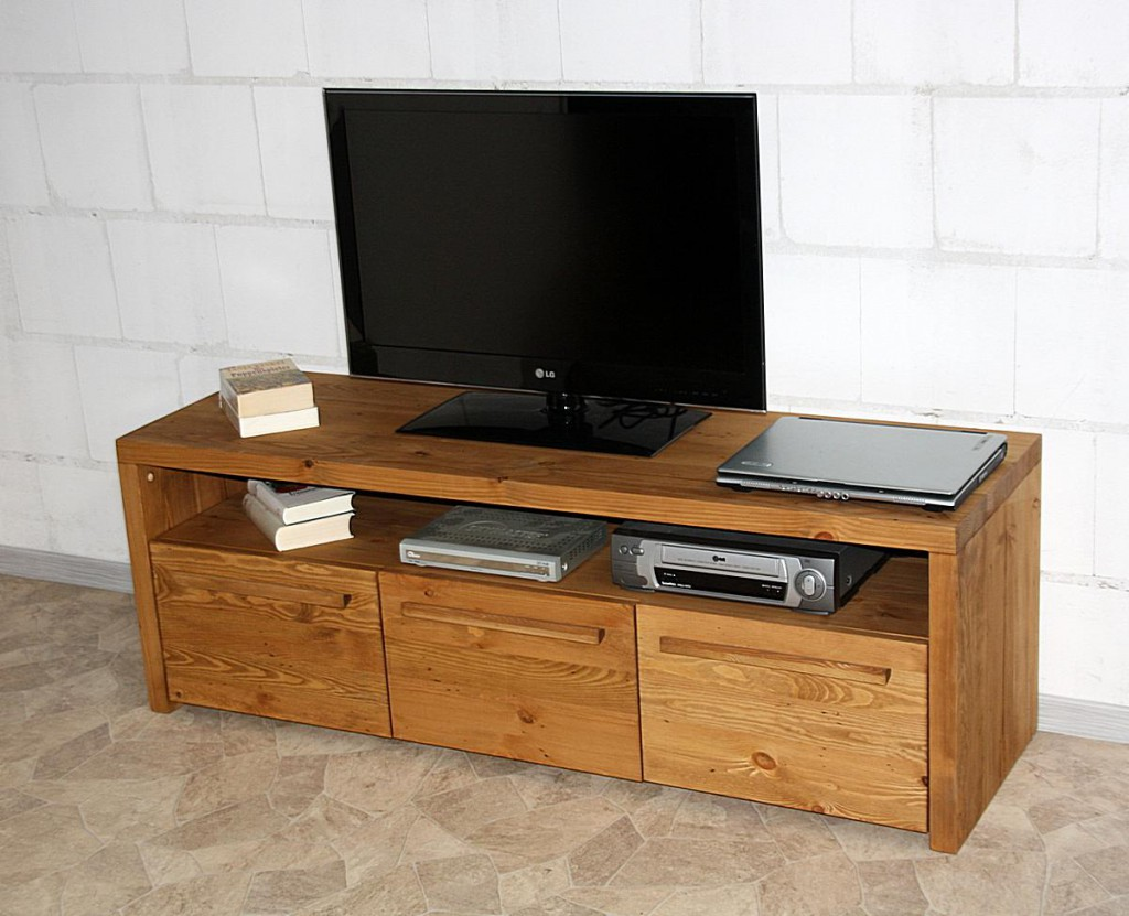 Tv Lowboard 150x50x45cm 3 Türen Nordisches Massivholz Rustikal