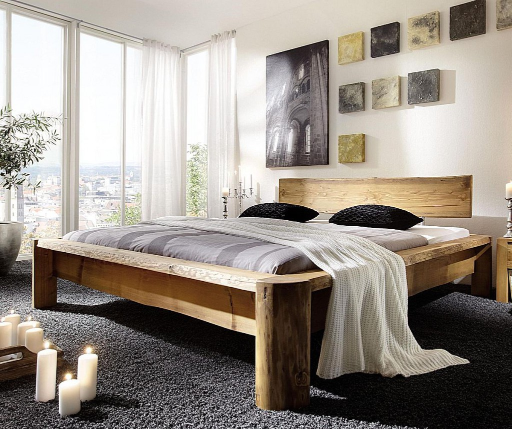 balkenbett 180x200 nordisches massivholz rustikal antik gewachst. Black Bedroom Furniture Sets. Home Design Ideas