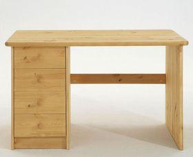 Schreibtisch 120x75x68cm, 4 Schubladen, Kiefer massiv natur lackiert