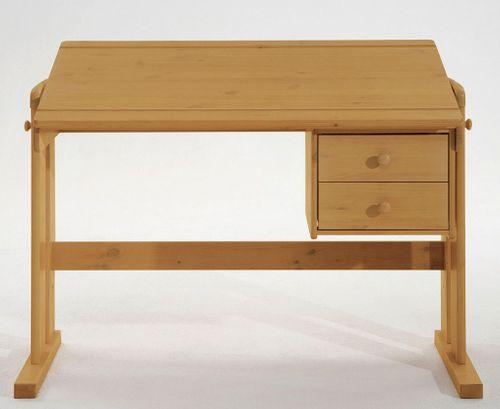 Schreibtisch höhenverstellbar massiv gelaugt geölt Kiefer Vollholz