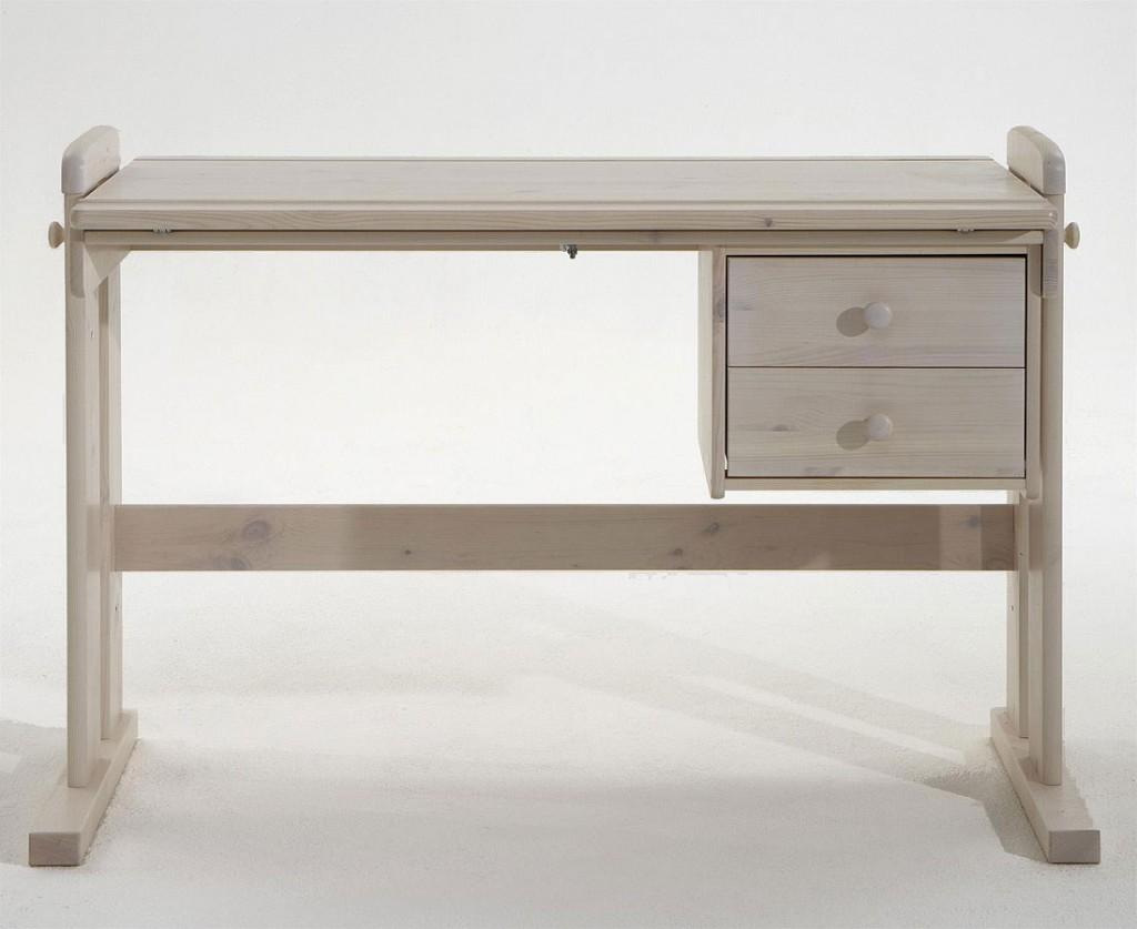 Schreibtisch Weiß Höhenverstellbar Massiv Kiefer Vollholz PC Tisch ...