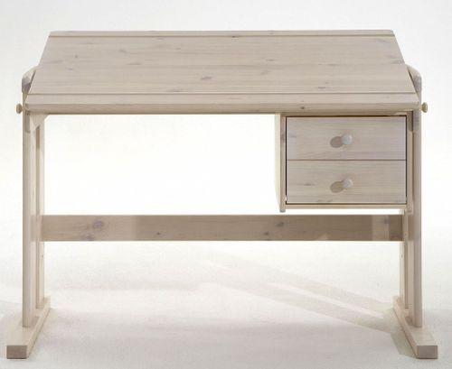 Schreibtisch weiß höhenverstellbar massiv Kiefer Vollholz PC-Tisch – Bild 3