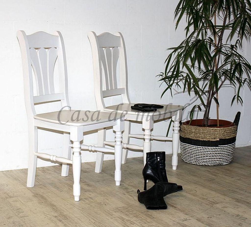 Stuhl mit Holzsitz LANDHAUS 54x96x49 Kiefer massiv weiß lasiert