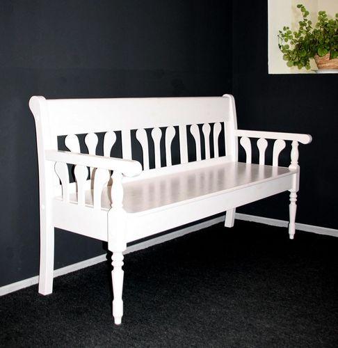 Sitzbank 161cm mit Lehnen Holzbank 162cm weiß lackiert Kiefer massiv Küchenbank – Bild 1