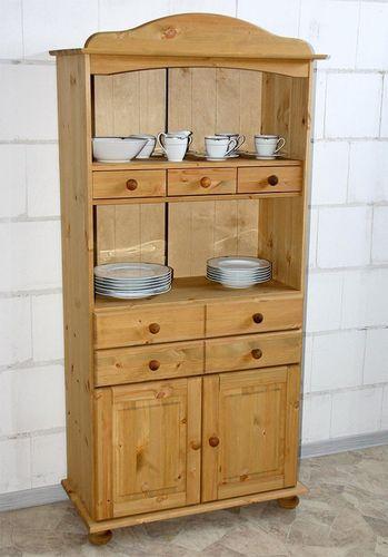 Küchenschrank Küchenregal Kiefer massiv Holz gelaugt – Bild 1