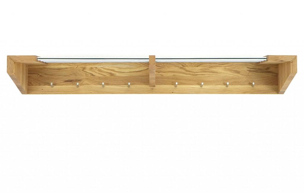 Hutablage 135x18x30cm, 8 Kleiderhaken, Massivholz geölt