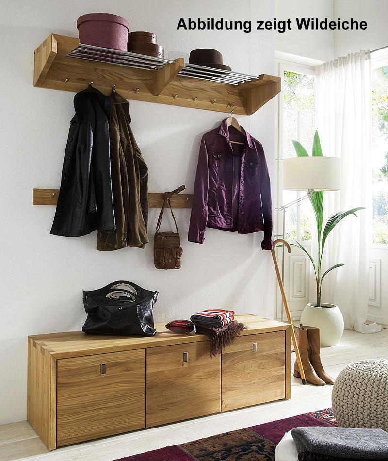 Massivholz Garderobe Hutablage Wandgarderobe Wildeiche Kernbuche massiv Holz