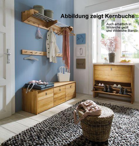 Massivholz Hakenleiste KERNBUCHE oder WILDEICHE Wandgarderobe Wildeiche Kernbuche massiv – Bild 3