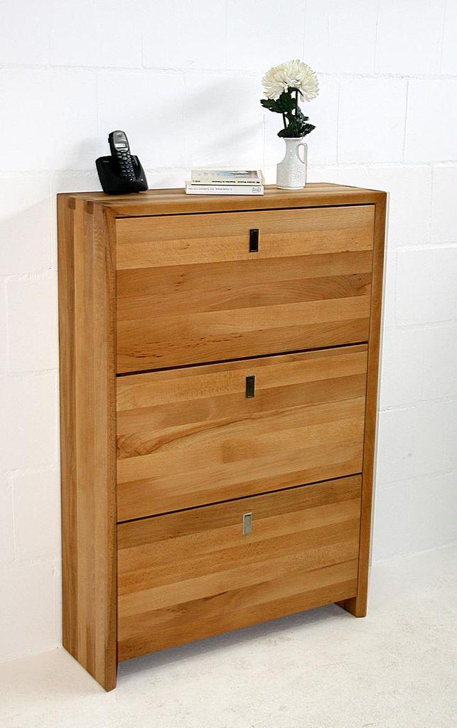 schuhkommode 83x124x28cm 3 klappen kernbuche massiv ge lt. Black Bedroom Furniture Sets. Home Design Ideas