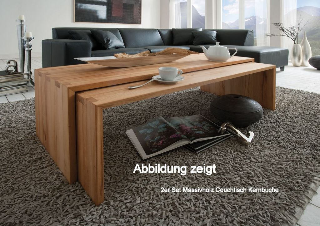 couchtisch beistelltisch kernbuche wildeiche massiv holz. Black Bedroom Furniture Sets. Home Design Ideas