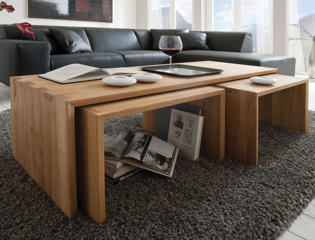 3x couchtisch beistelltisch kernbuche massiv holz. Black Bedroom Furniture Sets. Home Design Ideas