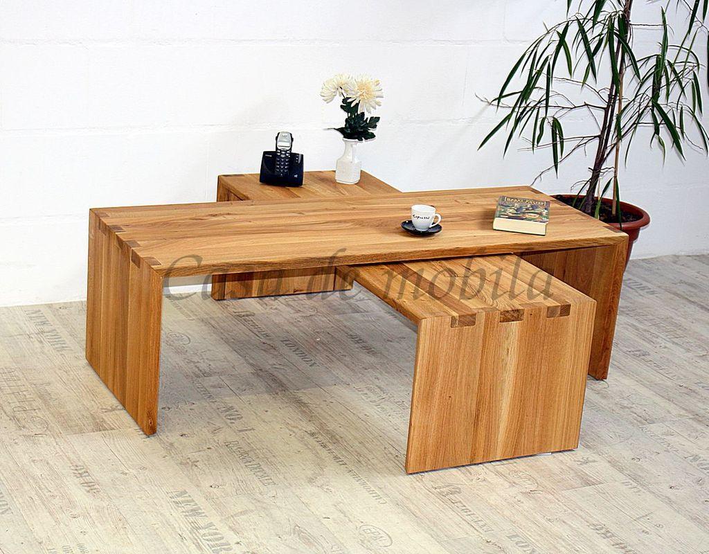 Massivholz Couchtisch Set WILDEICHE 2tlg. Beistelltisch Holztisch