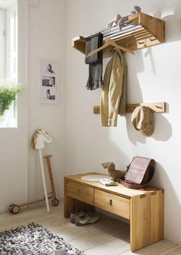 Garderoben Set Dielenmöbel 4 Teile Kernbuche massiv Holz