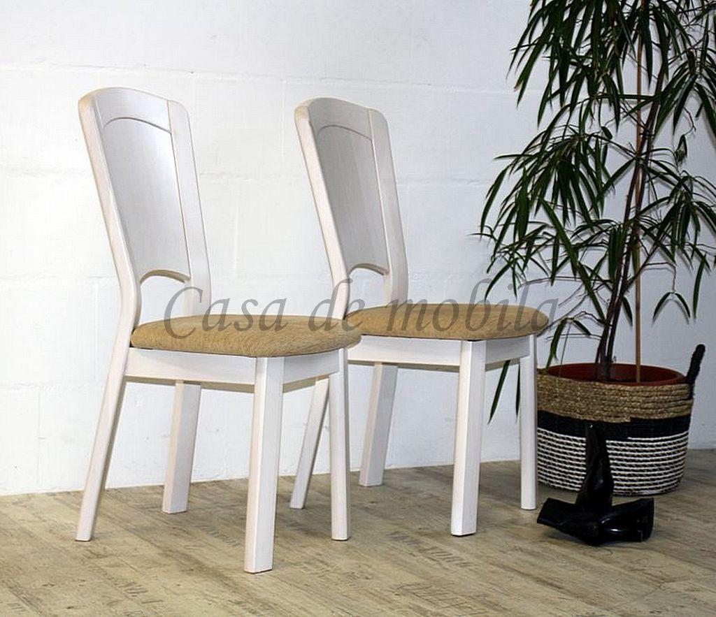 Stuhl mit Polstersitz GULDBORG 41x97x58 Kiefer massiv weiß lasiert