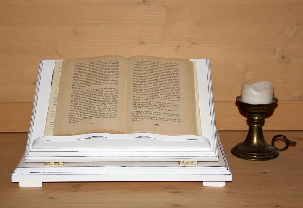 Notenständer weiß antik Buchhalter Vintage Bücherstütze Shabby-Chic Pappel massiv  – Bild 2