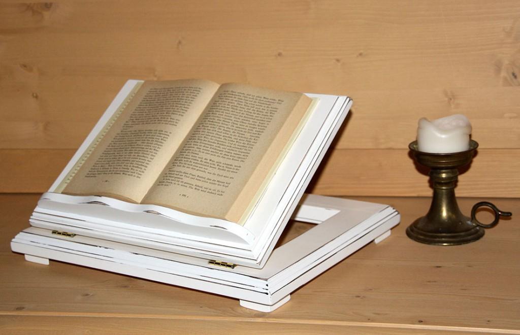 Notenständer weiß antik Buchhalter Vintage Bücherstütze Shabby-Chic Pappel massiv  – Bild 3
