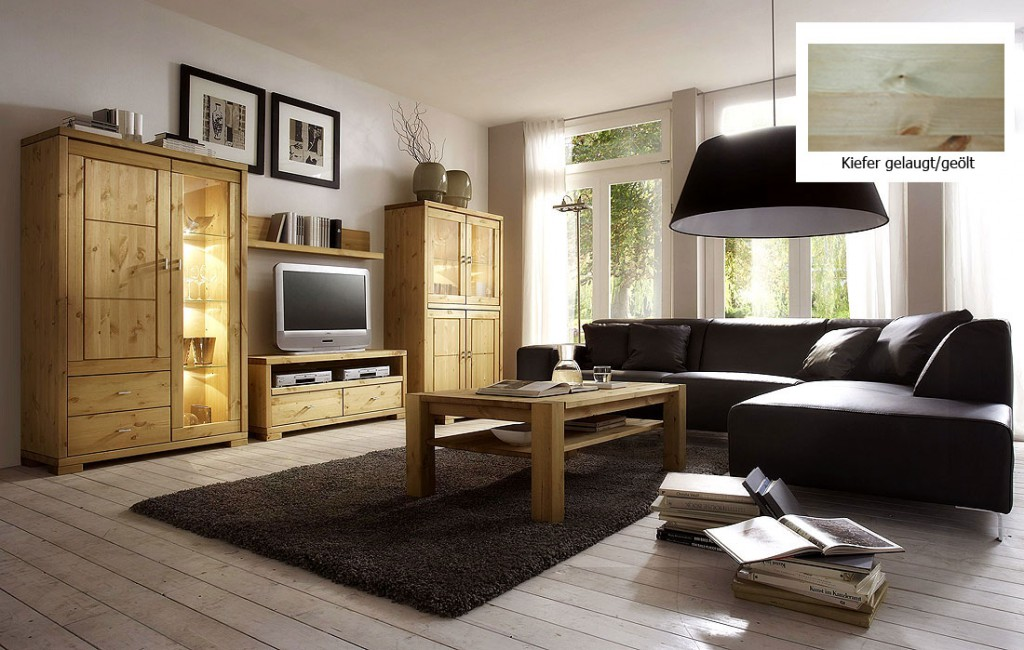wohnzimmer 5teilig kiefer massiv gelaugt ge lt. Black Bedroom Furniture Sets. Home Design Ideas