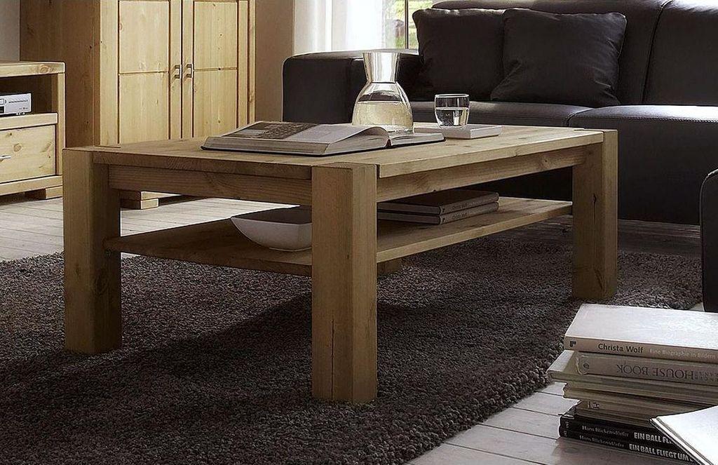 Wohnzimmermöbel komplett Vollholz Wohnwand Kiefer massiv gelaugt geölt – Bild 3