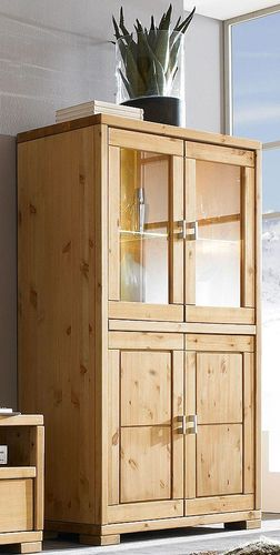 Highboard Vitrine Vitrinenschrank Highboardvitrine Kiefer Vollholz massiv – Bild 2