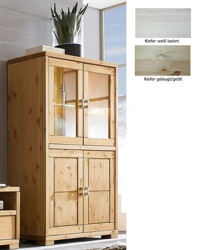 Highboard Vitrine Vitrinenschrank Highboardvitrine Kiefer Vollholz massiv – Bild 1