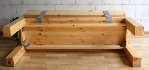 Sitzbank 140cm mit Rückenlehne Holzbank Lehne Vollholz Kiefer massiv gelaugt geölt – Bild 5