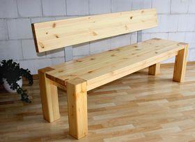 Massivholz Sitzbank 180cm mit Rückenlehne Holzbank Lehne Kiefer ...