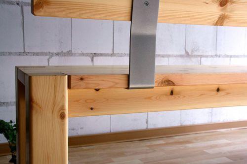 Sitzbank 160cm mit Rückenlehne Holzbank Lehne Vollholz Kiefer massiv gelaugt geölt – Bild 6