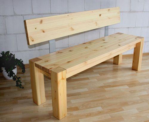 Sitzbank 160cm mit Rückenlehne Holzbank Lehne Vollholz Kiefer massiv gelaugt geölt – Bild 1