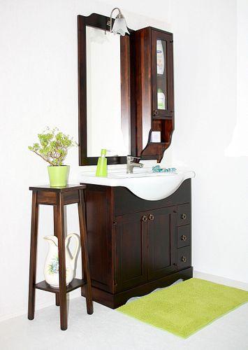 Badmöbel-Set 5teilig 85cm nussbaumfarben italienisch Badezimmer Vollholz massiv – Bild 1