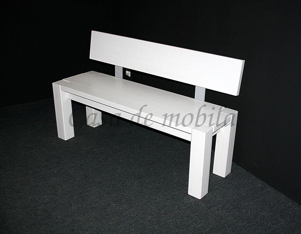 sitzbank 180x86x47cm mit r ckenlehne kiefer massiv wei. Black Bedroom Furniture Sets. Home Design Ideas