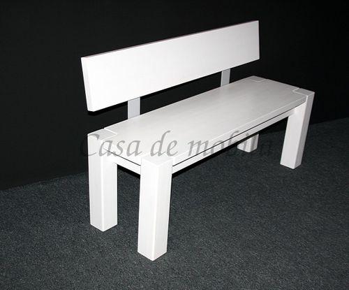Sitzbank 160cm mit Rückenlehne weiß Holzbank Lehne Vollholz Kiefer massiv – Bild 1