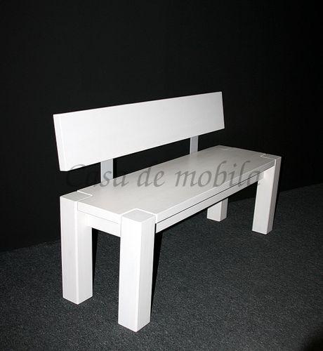 Sitzbank 140cm mit Rückenlehne weiß Holzbank Lehne Vollholz Kiefer massiv – Bild 2