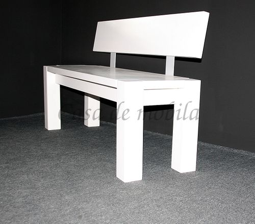 Sitzbank 140cm mit Rückenlehne weiß Holzbank Lehne Vollholz Kiefer massiv – Bild 1