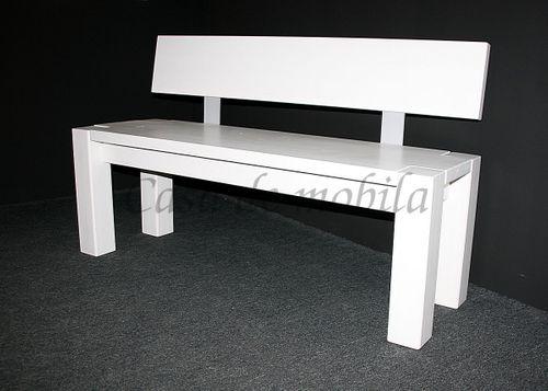 Sitzbank 140cm mit Rückenlehne weiß Holzbank Lehne Vollholz Kiefer massiv – Bild 4