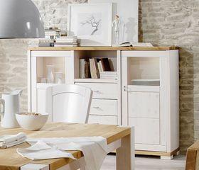 Highboard 168x127x43cm, 2 Holz-/Glastüren, 4 Schubladen, Kiefer massiv weiß lasiert
