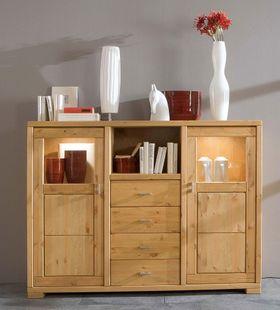 kommode 160x89x43cm 3 holzt ren 3 schubladen kiefer massiv wei lasiert. Black Bedroom Furniture Sets. Home Design Ideas