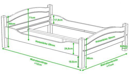 Bett 90x200 Vollholz Jugendbett Kiefer massiv hohes Fußteil – Bild 3