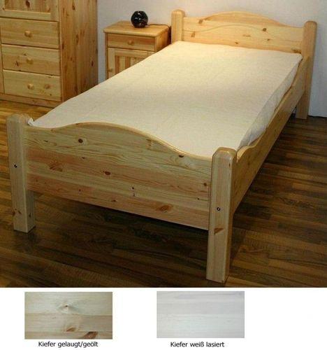 Bett 90x200 Vollholz Jugendbett Kiefer massiv hohes Fußteil – Bild 1
