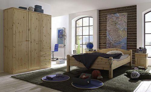 Bett 180x200 Vollholz Doppelbett Kiefer massiv hohes Fußteil – Bild 5