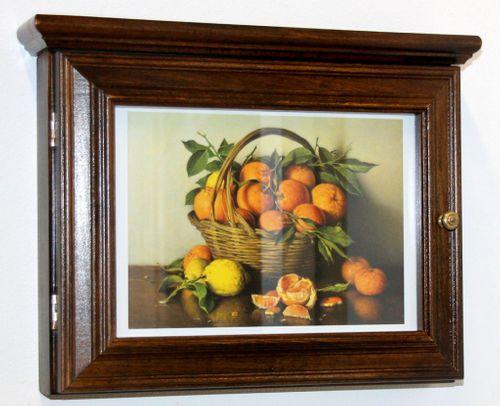 Schlüsselkasten Schlüsselbox Schlüsselschrank nussbaum massiv Holz Orangen – Bild 4