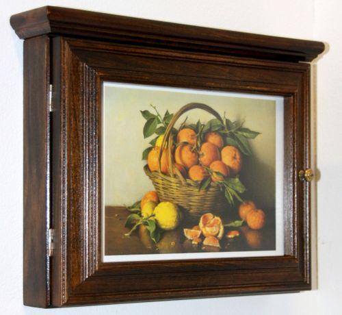 Schlüsselkasten Schlüsselbox Schlüsselschrank nussbaum massiv Holz Orangen – Bild 5
