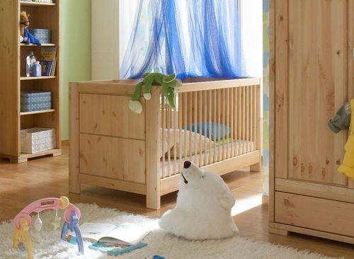 Babybett 70x140 gelaugt geölt Gitterbett Vollholz Kinderbett Kiefer massiv natur – Bild 1
